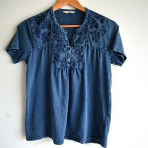 Lucky Brand blue embroidered top boho style